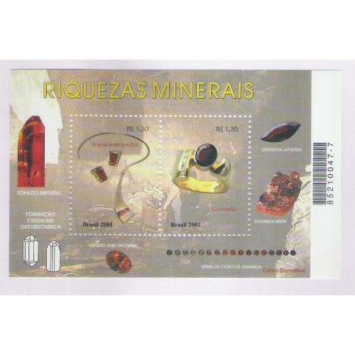 B-123 - 2001 - Riquezas Minerais. Topázio Imperial e Granada. Gemologia, mineralogia. gemas.