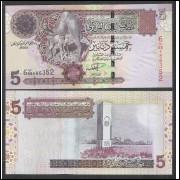 Líbia - P.69 - 5 Dinars, 2004, fe. Camelos.