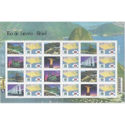 C-2702-2707 - 2007 Selos Personalizados - Folha - Rio de Janeiro. Carta comercial, 1o porte.
