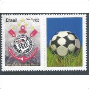 C-3030 - 2010 - Selo Personalizado (vertical) - Centenário do Corinthians Paulista. Futebol