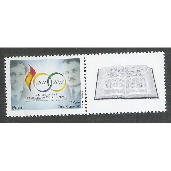 C-3093 - 2011 - Selo Personalizado - Centenário das Assembléias de Deus no Brasil. Religião.