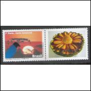 C-3156 - 2011 - Selo Personalizado - Amanhecer paranaense Gralha Azul. Pinheiro. Ave, fauna, flora