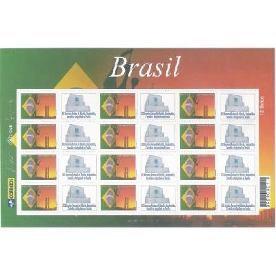 C-2584 - 2004 Selo Personalizado - Folha - Carta comercial, 1o porte. Bandeira e Brasília.