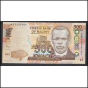 Malawi - (P.61) 500 Kwacha, 2012, fe. Personagem, Reverend John Chilembwe. Barragem, água.