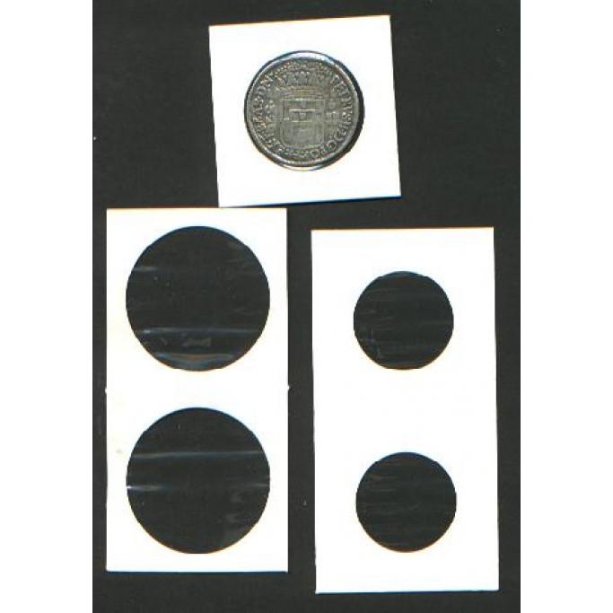 Invólucros (coin holders) para moedas, com até 25,0 mm. 50 unidades.