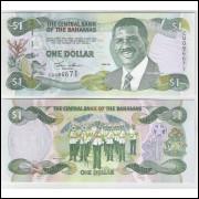 Bahamas - (P.69) 1 Dollar 2001 fe. Personagem, Sir Lynden O.Pindling.Música, banda da polícia,peixes