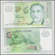 Singapura - (P.47) 5 Dollars, 2005, fe. Personagem, Presidente Encik Yusof. jardim, flores. Polímero
