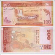 Sri Lanka - (P.125) 100 Rupees, 2010, fe. Fauna, borboleta, ave, cachoeira, dança.