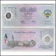 Kuwait - (P.CS2) 1 Dinar, 2001, fe. Polímero. Comemorativa ao 10o Ano da Libertação.