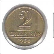 1956 - 2 Cruzeiros, bronze-alumínio, Brasão, FC