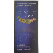 Álbum para as moedas circulantes do Real 1994-2020, inclui as comemorativas.