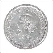 1906 - 500 Réis, prata, mbc/s, RÉIS COM ACENTO, Brasil-República.