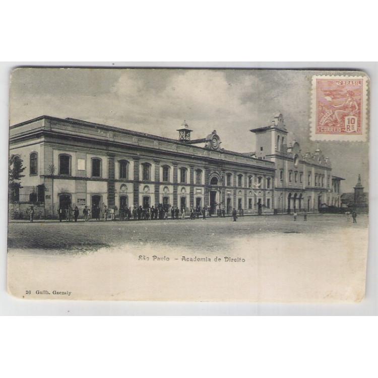 SP01 - Cartão postal antigo circulado, São Paulo, Academia de Direito. Ed.: 26 Guilh. Gaensly.