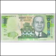 Malawi - (P.62) 1000 Kwacha, 2012, fe. Personagem, Dr. Hastings Kamuzu Banda. Agricultura, milho.