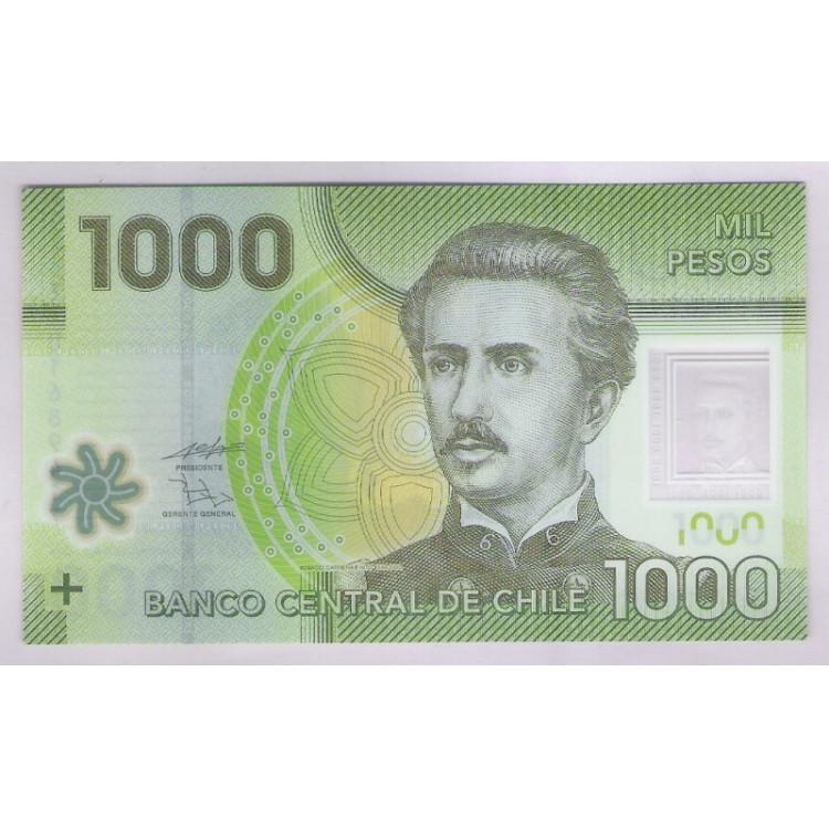 Chile - (P.161) 1.000 Pesos, 2010 FA , fe. Polímero. Ignacio Carrera Pinto. Fauna,flora.
