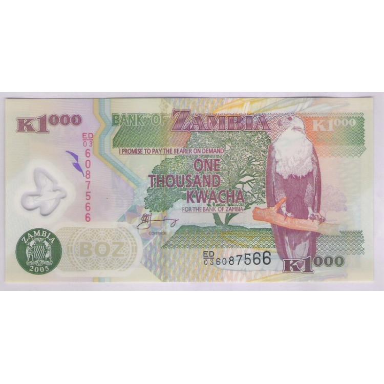 Zâmbia - (P.45d) 1000 Kwacha, 2005, fe. Polímero. Fauna, agricultura.