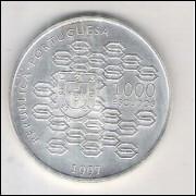 Portugal, 1000 Escudos, 1997, prata, fc. II Centenário do Crédito Público.