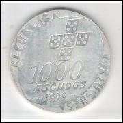 Portugal, 1000 Escudos, 1999, prata, FC. Revolução de 25 de Abril.