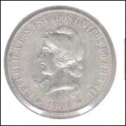 1908 - 2000 Réis, prata, mbc.
