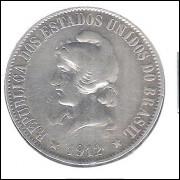 1912 - 2000 Réis, prata, mbc.