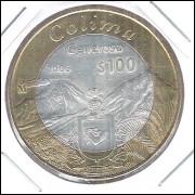 México, 100 Pesos, 2006, Colima - Generoso, bimetálica, centro de prata .925 - 20,17g - 39,04mm