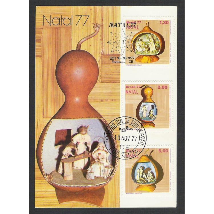 max055A - 1977 Natal - Série. Religião. Carimbo Comemorativo e 1o Dia - Bauru-SP.