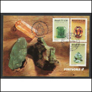 max056 - 1977 Pedras Preciosas - série. Minerais. Carimbo Comemorativo e 1o Dia -  Goiânia-GO.