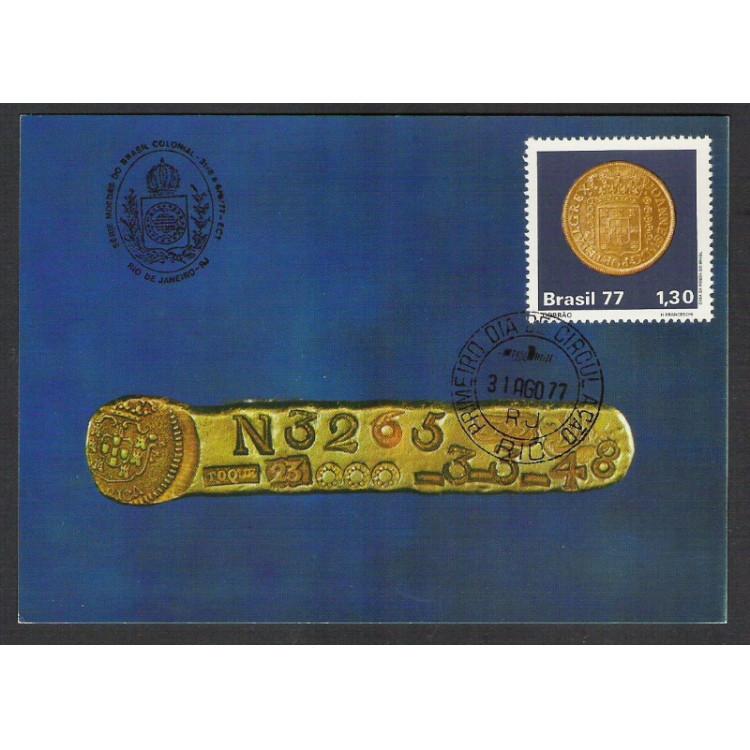 max053C - 1977 Moedas do Brasil Colonial. Dobrão. Carimbo Comemorativo e 1o Dia -  Rio de Janeiro-RJ
