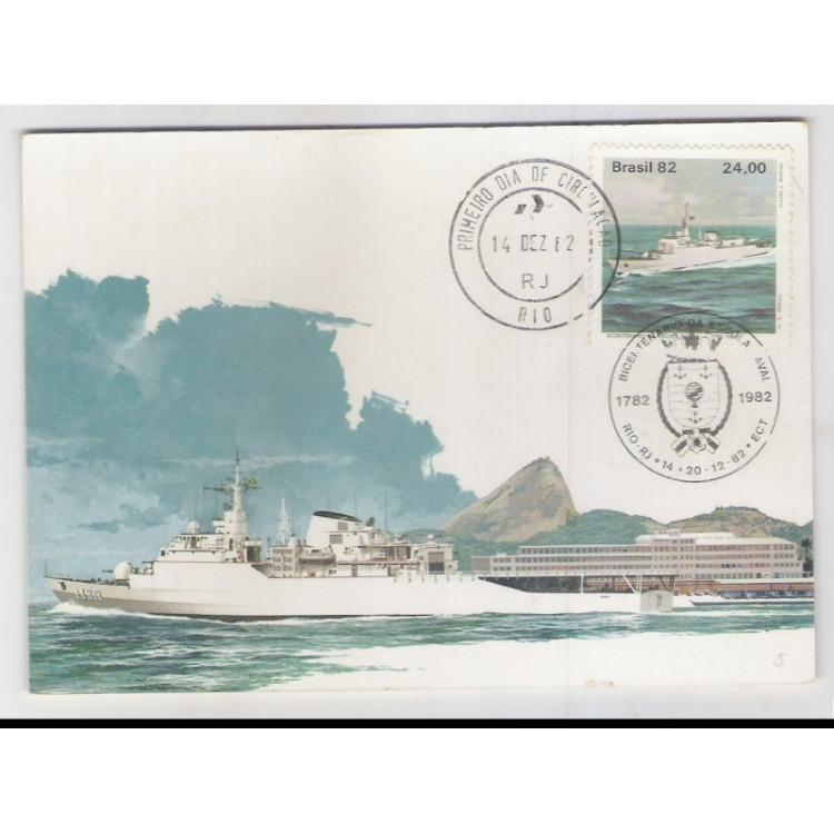 max074 - 1982 Bicentenário da Escola Naval. Navio Escola Brasil. Car. Comemorativo e 1o dia, Rio-RJ