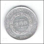1859 - 200 Réis, Corôa de pérolas, prata, soberba, Brasil-Império, Dom Pedro II.
