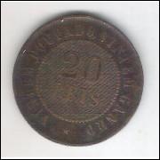 1908 - Brasil, 20 Réis, bronze, bc
