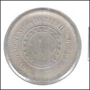 1899 - 100 Réis, reverso horizontal a esquerda, bc.