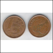 2001 - 1 Centavo, mbc-s, aço revestido de cobre.