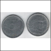 1995 - 5 Centavos, mbc, aço.