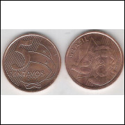 2009 - 5 Centavos, fc, aço revestido de cobre.