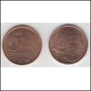 2010 - 5 Centavos, s, aço revestido de cobre.