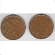 2010 - 5 Centavos, mbc, aço revestido de cobre.