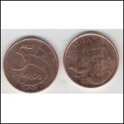 2011 - 5 Centavos, fc, aço revestido de cobre.