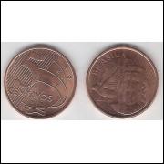 2012 - 5 Centavos, fc, aço revestido de cobre.