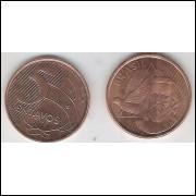 2013 - 5 Centavos, fc, aço revestido de cobre.