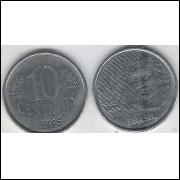 1995 - 10 Centavos, mbc, aço.