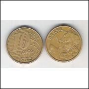 2003 - 10 Centavos, mbc, aço revestido de cobre.