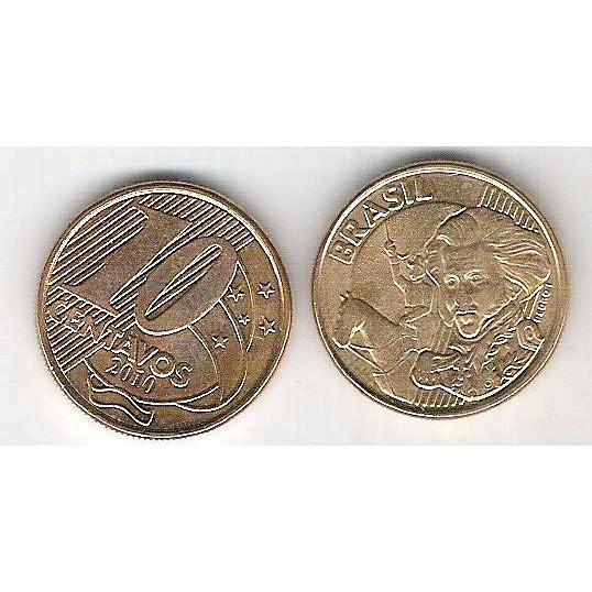 2010 - 10 Centavos, FC, aço revestido de cobre.