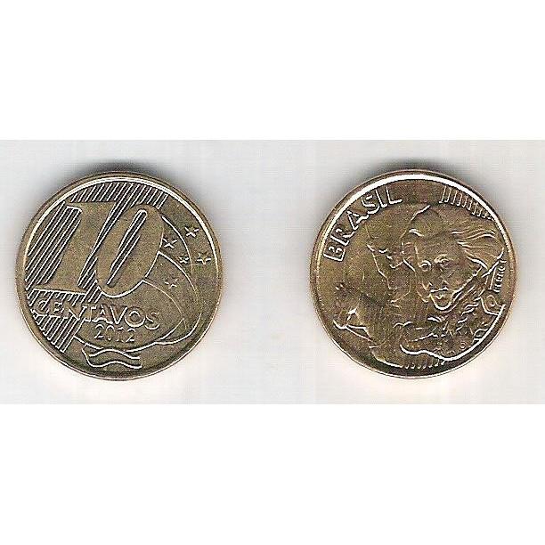 2012 - 10 Centavos, fc, aço revestido de cobre.