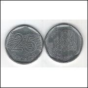 1995 - 25 Centavos, FAO, soberba (s), aço. Comemorativa.