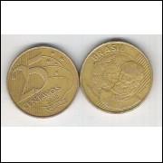 2000 - 25 Centavos, mbc, aço revestido de cobre. Marechal Deodoro da Fonseca.