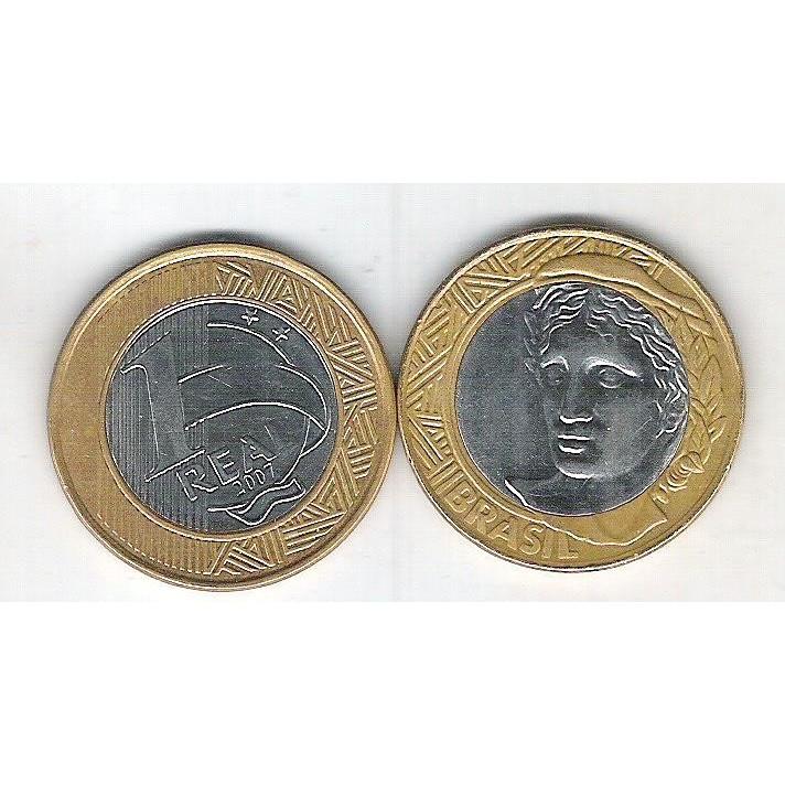 2007 - 1 Real, soberba (s), bimetálica (aço e aço revestido de cobre).