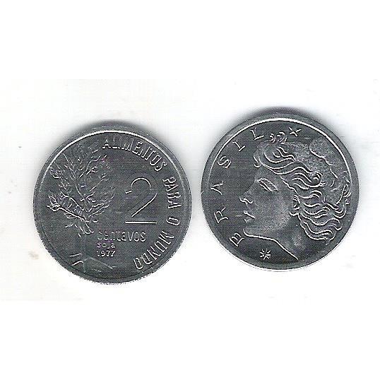 1977 - 2 Centavos, fc, Comemorativa, Alimentos para o Mundo - FAO. Soja.