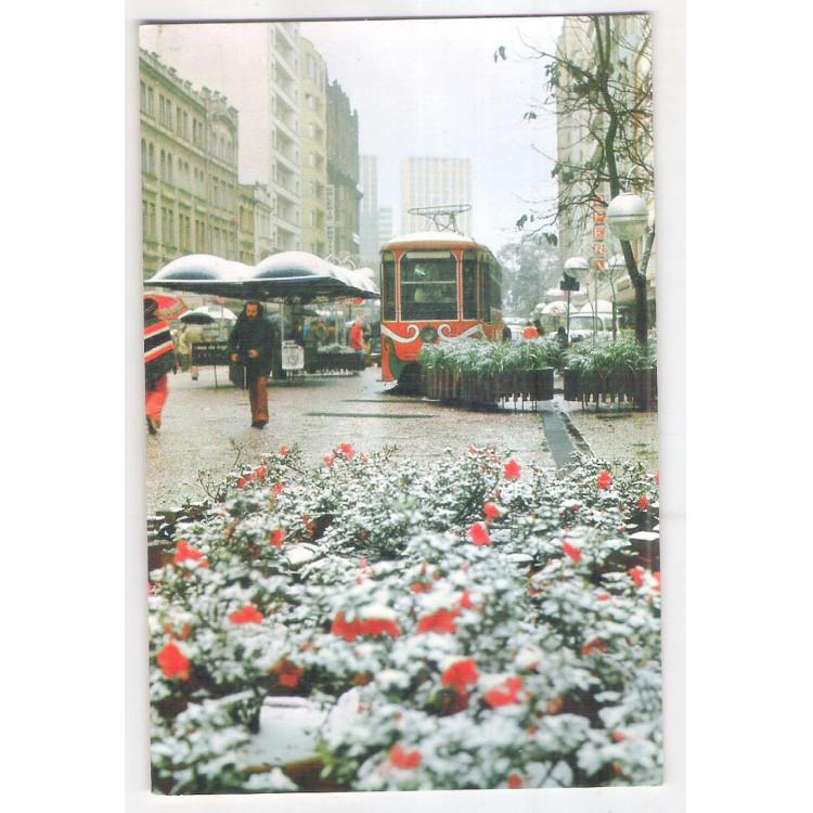 Cartão postal, Curitiba, Rua das Flores, No dia da grande neve, 17 de julho de 1975.