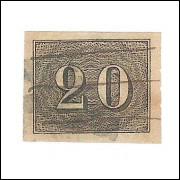 I-12 Brasil Império, 1850, 20 Réis, Olho de Cabra, Excelentes margens. Belo exemplar.